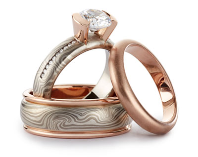red gold bridal ring set