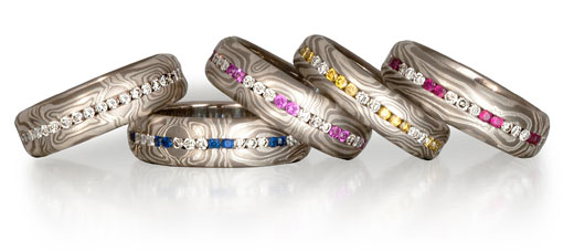 symmetry rings with diamonds and colored stones