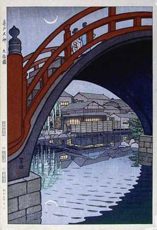 print of a japanese bridge