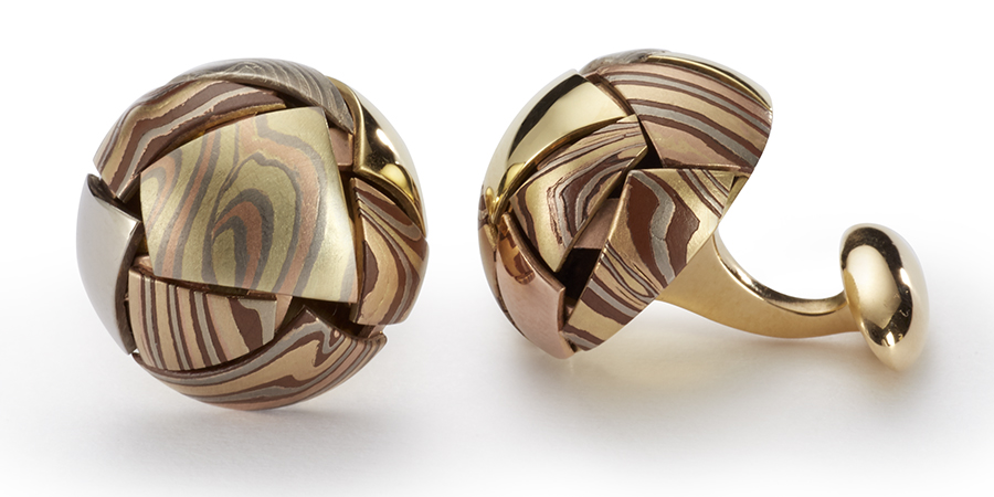 Mosaic cufflinks, designed with multi mokume combinations by George Sawyer in Minneapolis, MN
