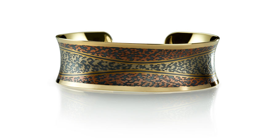 Wave Cuff with Spring and Winter Koi® metalwork - men's and women's jewelry designed in Minneapolis, MN